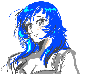Kawaii animu cutie with blue hair!