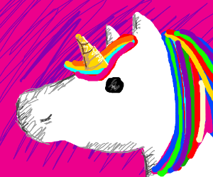Unicorn with Colorful Hair