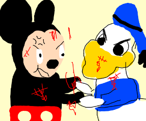 Mickey Mouse Fighting Donald Duck Drawception