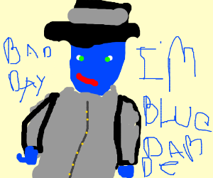 blue guy in top hat and grey coat has bad day