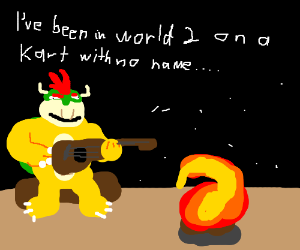Bowser playing acoustic guitar by campfire