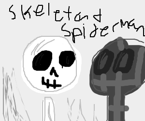 Skeleton and spiderman