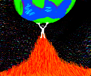 Man on orange mound lifting earth