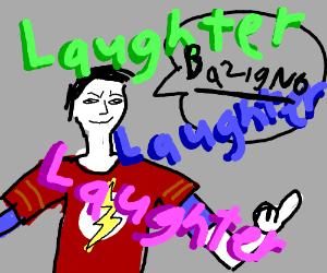 sheldon says bazinga and everyone laughs