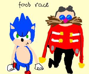 Sonic racing eggman in a foot race