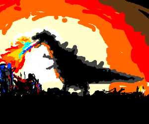 godzilla destroying a city