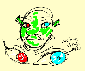 Shrek with red and blue eyes
