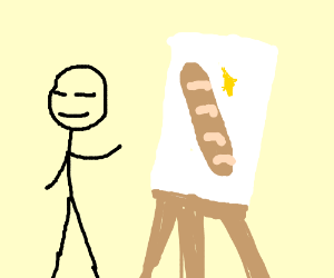 Some painting holding a baguette or man steal