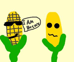 Cool corn talking to a corn cob