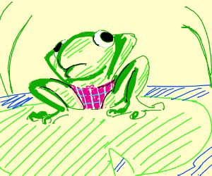 Frog wearing panties.