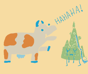derp cow laughs very close at a green mtn