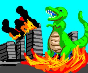 Big Dinosaur destroys city