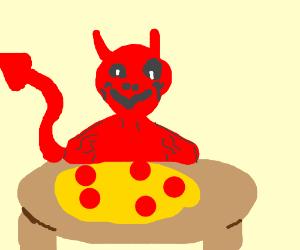 a devil eats pizza at Barbie karioke