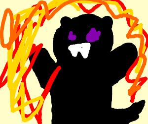 Godzilla within a fiery inferno