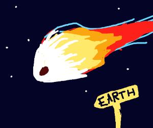 Meteorite flying down to earth in space