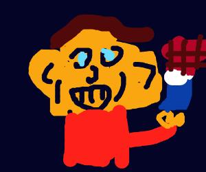 Boy with Squishy Cheeks eating Chocolate