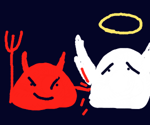 blob devil pokes blob angel