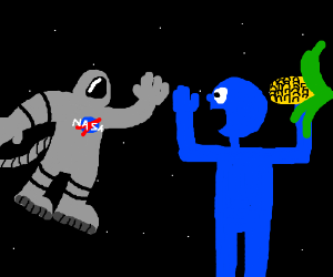 A person in space meeting a blue person & corn