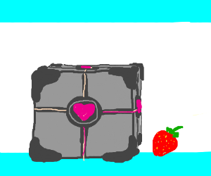 a companion cube with a strawberry