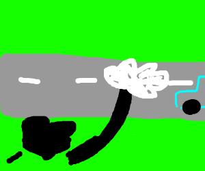 Mickey's gloved hand flattened like roadkill