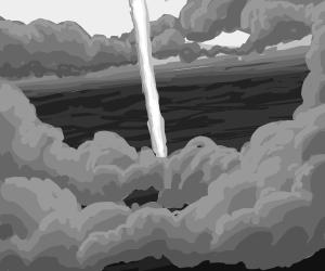A beacon shooting up through the clouds