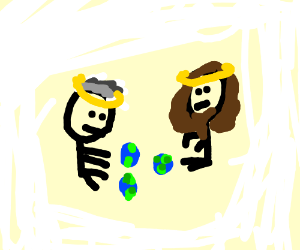 Two stick figures playing with mini Earths