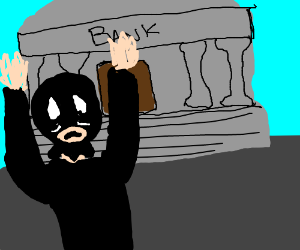 bank robber arms up