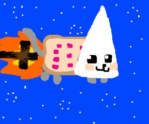 kkk nyan cat in space with burning cross