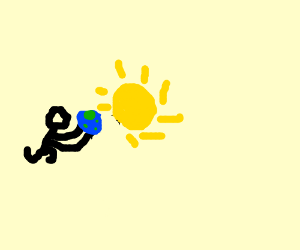 A man throwing Earth at the Sun