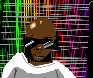 Black bald man with shades