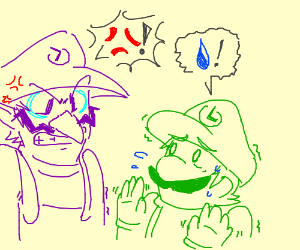 Waluigi upset at luigi