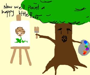 Bob Tree paints a happy little ross
