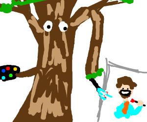 Tree Paints a Happy little Bob Ross