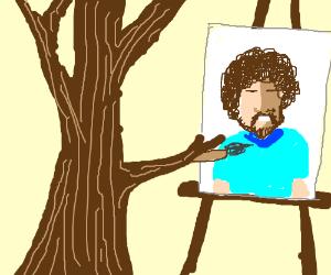 Tree paints Bob Ross