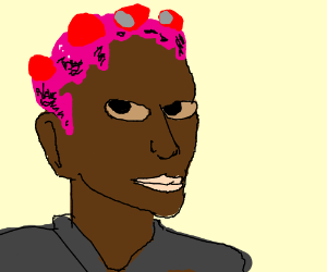 silly puddy hair on brown man