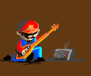 mario jamming out with a radio