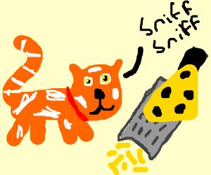A cat smelling a flower - Drawception