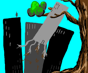 Tree uprooting buildings in a city
