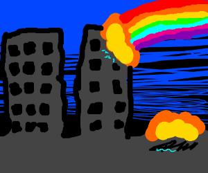 rainbow death laser destroys a desolate city
