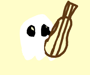 chibi ghost with two string banjo/ukulele