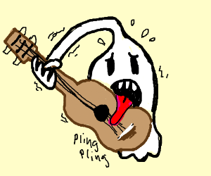 high five ghost playing guitar