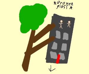 Tree tears down building