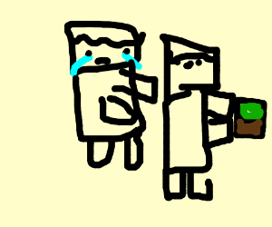 Crying minecraft guy who can't take blocks