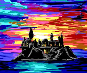 castle with a clown color sky