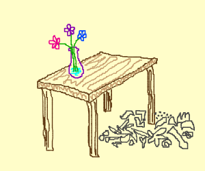 initial sketch of table, vase and detritus.