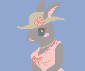rabbit in fancy hat