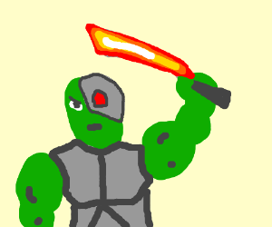 Cyborg With Green Skin and a Red GlowinMachete