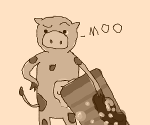 Cow using a washboard