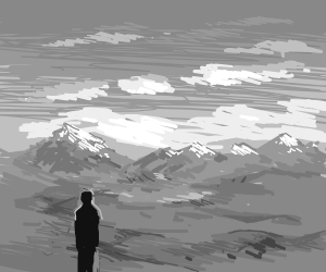 Man looking over the horizon