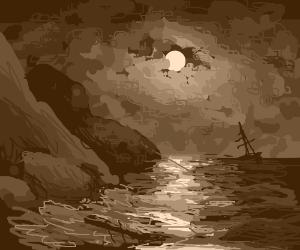 Shore in Misty Moonlight
